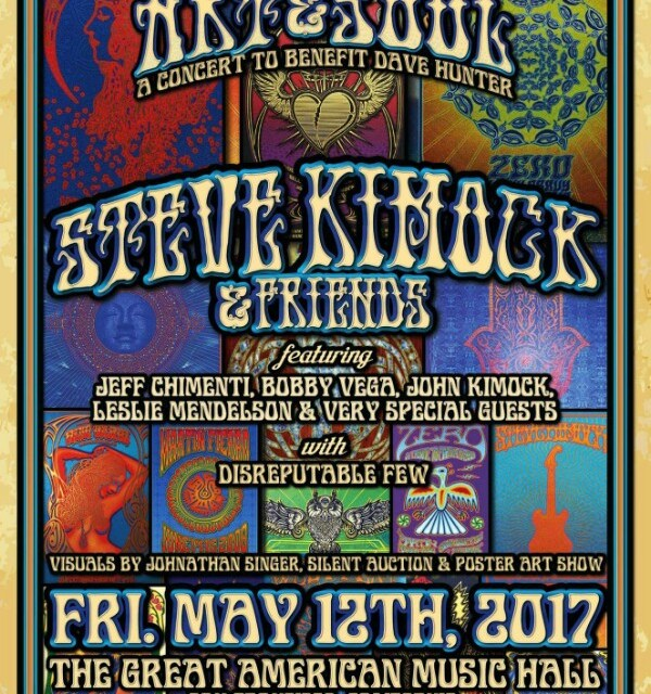 """On sale NOW """"Art & Soul – A Concert to Benefit Dave Hunter featuring Steve Kimock & Friends @ GAMH   w/ Disreputable Few""""!"""