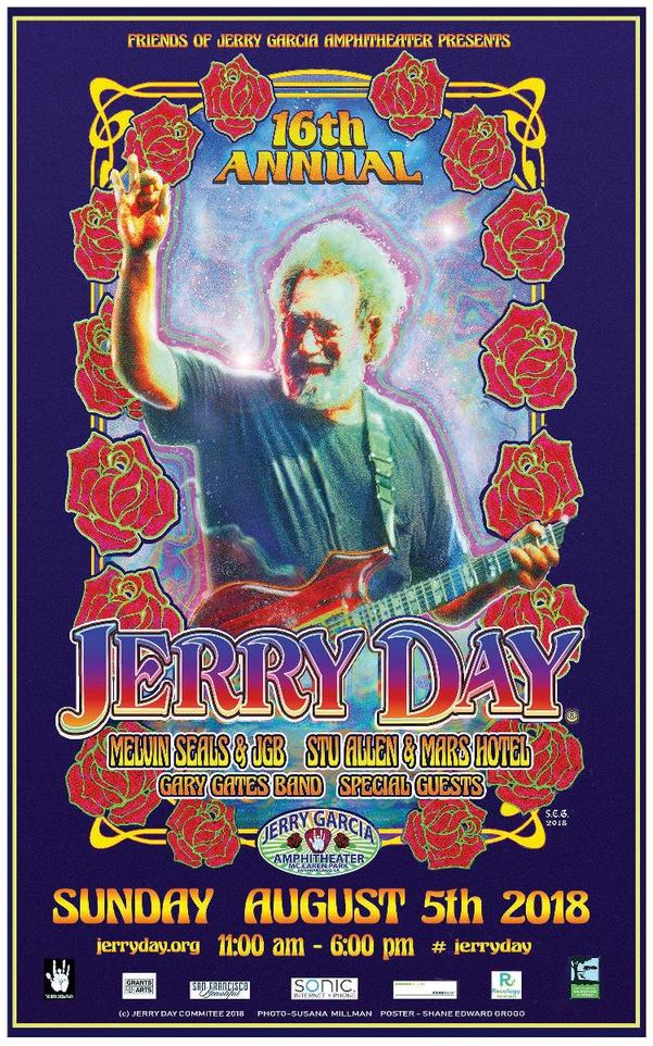 FREE WEBCAST TODAY: Jerry Day 2018 | Jerry Garcia Amphitheater, San Francisco, CA | Sunday August 5, 2018 | Melvin Seals and JGB, Stu Allen & Mars Hotel