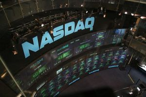 Nasdaq electronic display screens at Times Square