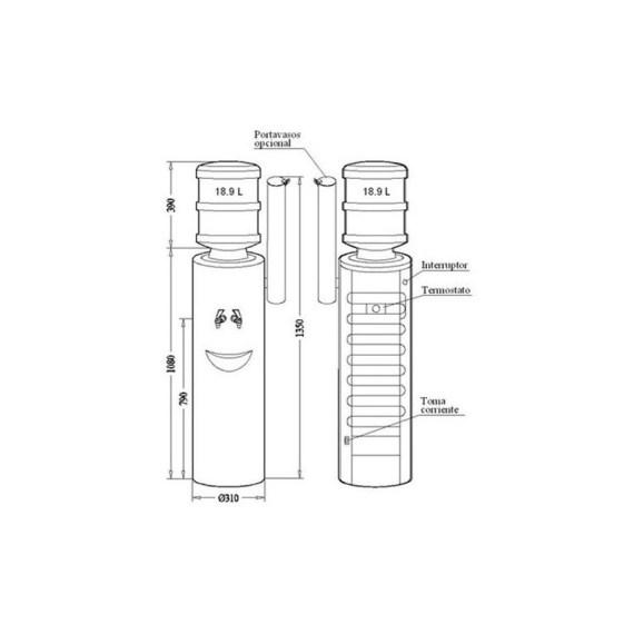 Esquema visual con medidas del dispensador serie 7 modelo 72