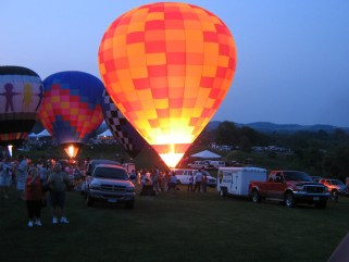 Hot Air Balloons anchored to the ground