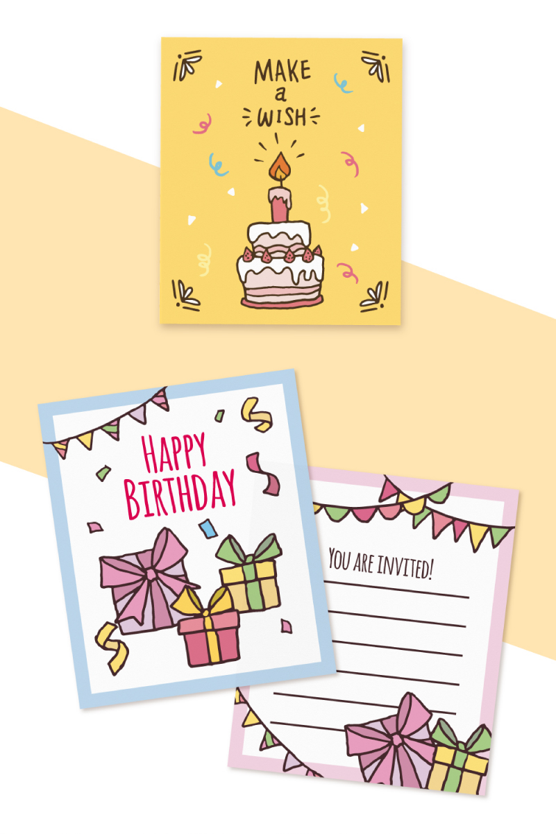 Hand Drawn Birthday Cards Collection For Happiest