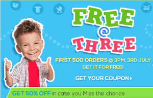 firstcry free at three 500 orders free