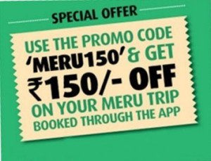 Meru Cab – Get Flat Rs 150 off on your first cab booking