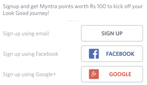 myntra app sign up and get 100 points