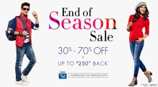 Amazon- Buy Fashion Products at upto 70% off and get Amazon Gift Card upto Rs 250 (App Only)