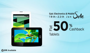 (Best buy added) Paytm Epic Electronics Sale- Buy Tablets at flat 50% cashback