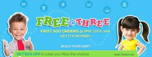 (Live at 3PM) Firstcry Free @ Three– First 500 orders worth Rs.1000 free today