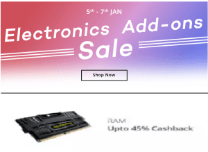 Paytm Electronics Add on Sale – Buy PC or Laptop RAMs at great price + upto extra 45% cashback