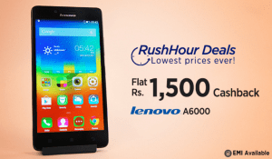 (Cheapest) Paytm Rush Hour – Buy Lenovo A6000 (Black) at Rs 5499 only