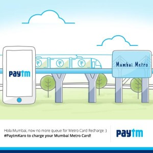 Paytm– Get Rs 100 cashback on Mumbai Metro Card Recharge of Rs 100 or more