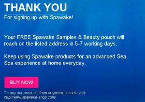 Freebie Offer - Get Free Sample of Spawake Product & Beauty Pouch