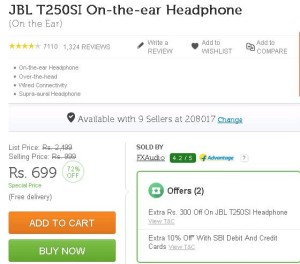 Flipkart - Buy JBL T250SI On-the-ear Headphone at Rs 699 only