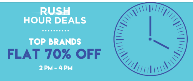 Jabong Rush Hour Deals - Get Fashion Products at Flat 70% Off + Extra 10% Off