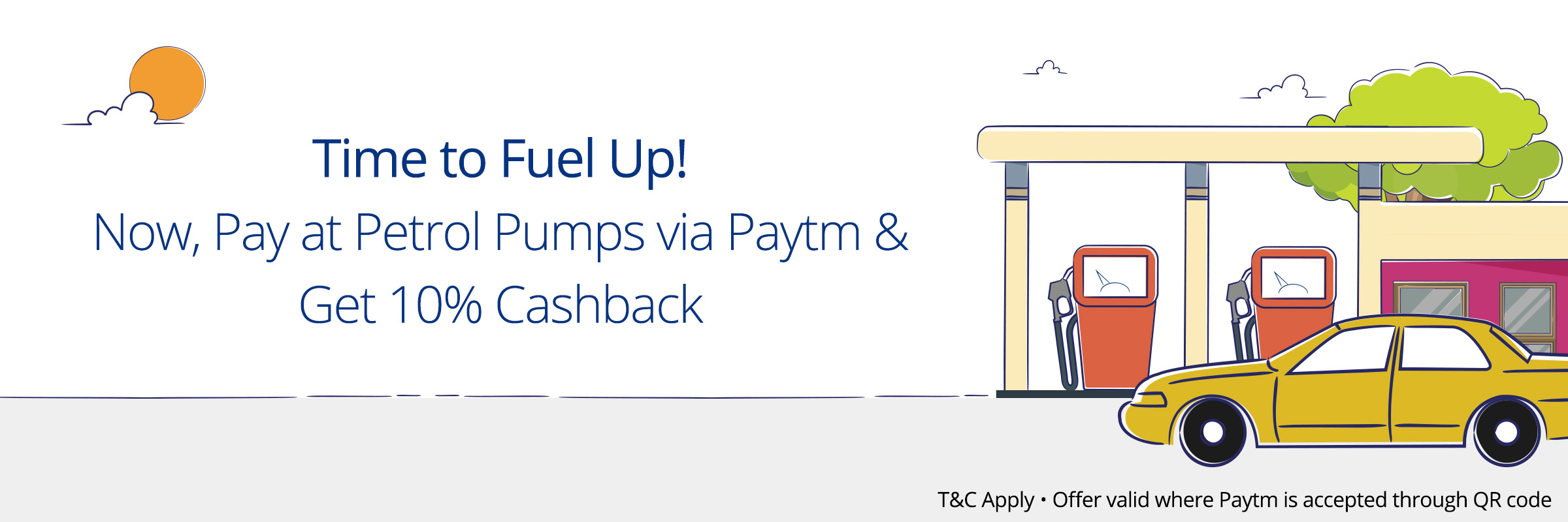 Paytm - Get 10% Cashback on Transaction of Rs 100 or more at Petrol Pumps