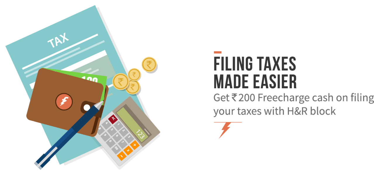 freecharge file tax with H&R and get Rs 200 freecharge cash free