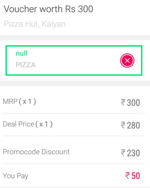 little app Rs 300 pizzahut voucher for Rs 50