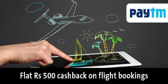paytm flat Rs 500 cashbak on flight bookings