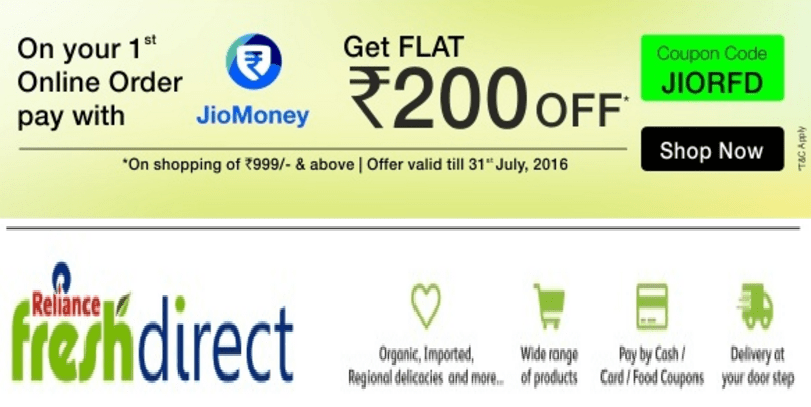 reliance fresh direct get Rs 200 off on groceries above Rs 1000 Mumbai and Pune
