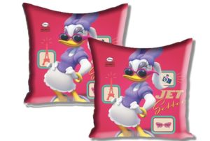 "Buy Disney Mickey and Friends 2 Piece Satin Polyester Cushion Cover Set - 16""x16"", Pink for Rs.91 only"