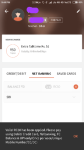FreeCharge – Proof of Rs 50 Cashback on Rs 50 Recharge