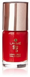 Lakme 9 to 5 Long Wear Nail Color, Red Boss, 9 ml