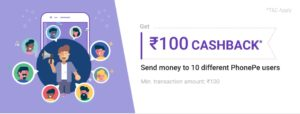 PhonePe - Get Rs. 100 Cash back on Money Transfer