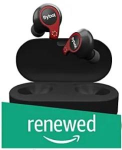 (Refurbished) Flybot Active True Wireless Bluetooth 5.0 Headphones with Microphone and Charging Case | IPX7 Waterproof Sports Headphones - Black