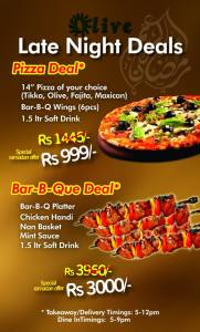 Olive Garden Islamabad Late Night Deals 2013 Ramadan Pizza / BBQ