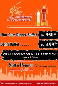Salt n Pepper Grill Lahore Iftar Deal 2013 Buffet Dinner / Sehri