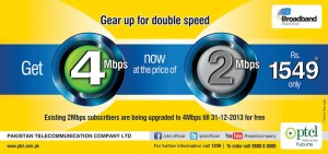 PTCL Broadband Pakage Upgradation of 2 Mbps to 4 Mbps Free