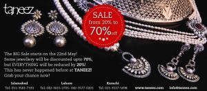 Taneez Jewellery Sale 2014 May in Lahore, Karachi & Islamabad