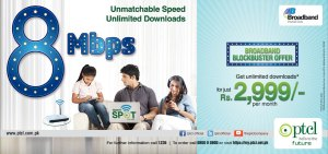 PTCL Broadband Blockbuster Offer 2014, 8 Mbps in Rs. 2999