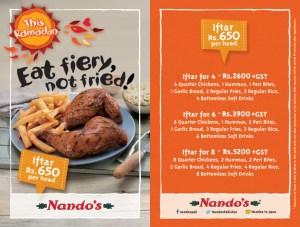 Nando's Iftar Deals 2014 Ramadan in Karachi, Lahore & Islamabad