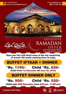 Lal Qila Karachi Iftar Buffet Dinner Deal 2015