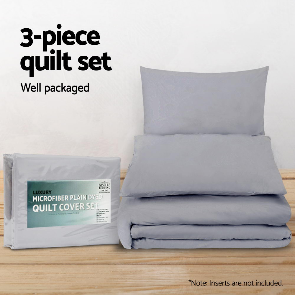 Giselle Bedding Super King Size Classic Quilt Cover Set - Grey