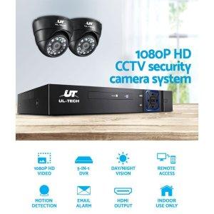 UL-tech CCTV Camera Security System 4CH 2 Dome Camera DVR HD 1080P IP Kit Day Night