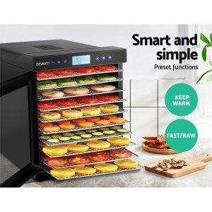 Devanti Food Dehydrators Stainless Steel Jerky Dehydrator Fruit Dryer 10 Trays