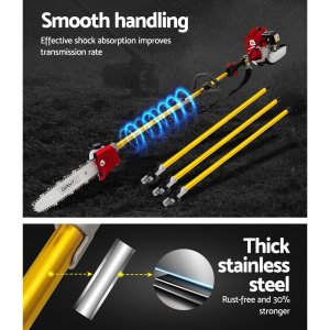 Giantz 65CC Pole Chainsaw Brush Cutter Hedge Trimmer Petrol Long Reach Whipper