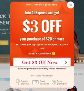AliExpress $3 Off