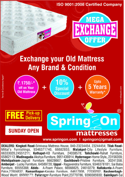 Spring On Mattresses Presents Mega Exchange Offer Old Mattress And Get Rs 1750 Off At Hyderabad Your Any Brand