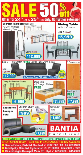 SALE UPTO 50 OFF ON FURNITURE at BANTIA FURNITURE on 24th and 25th september only Hyderabad