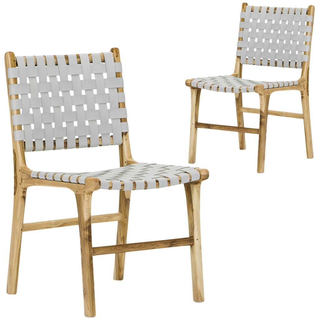 modern leather dining chairs australia swivel desk chair cassie woven and teak set of 2 649
