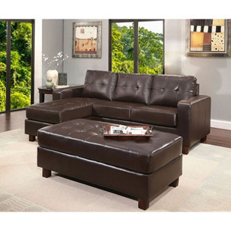 Claire Leather Reversible Sectional and Ottoman (Assorted Colors) - Sam's Club