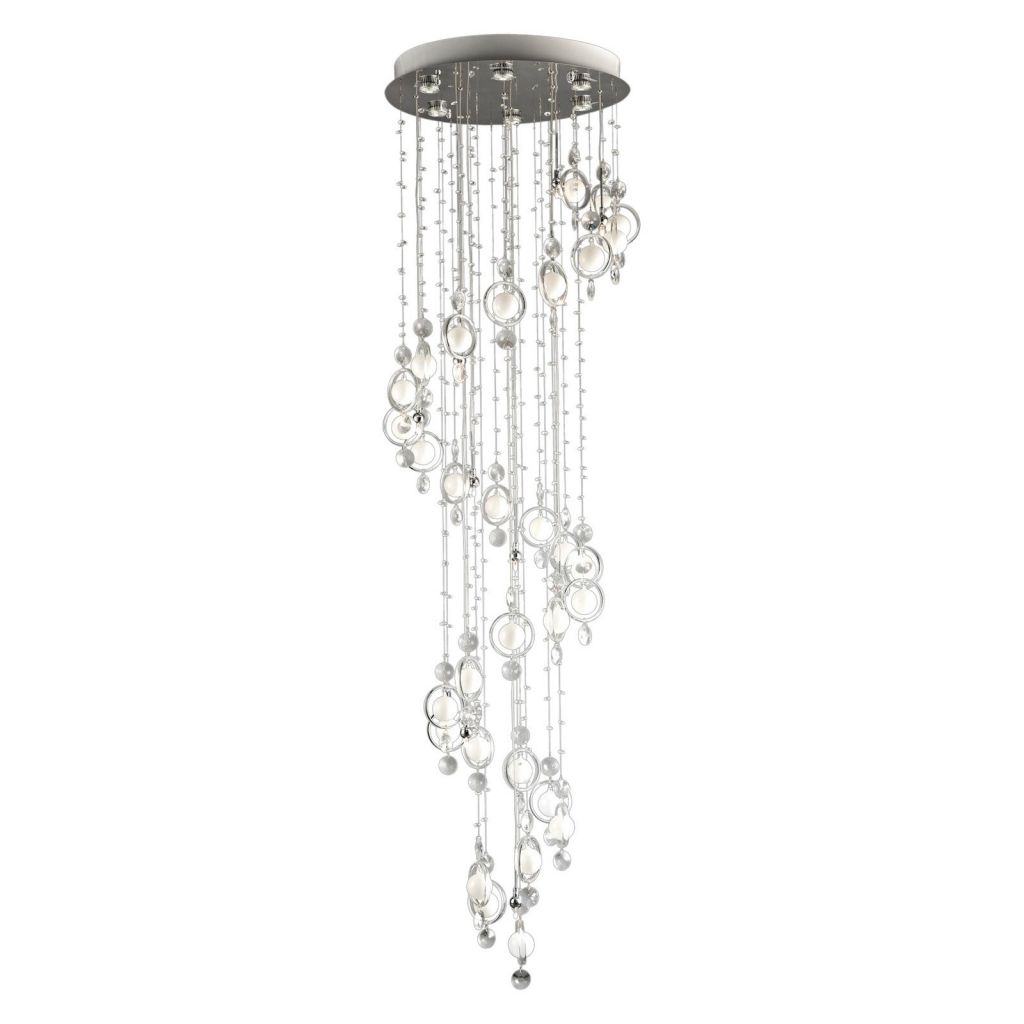 Bubbles Chandelier, LED/Halogen Chrome with Clear Crystal and White Frosted Glass Accent and Cut Crystal Droplets - Walmart.com
