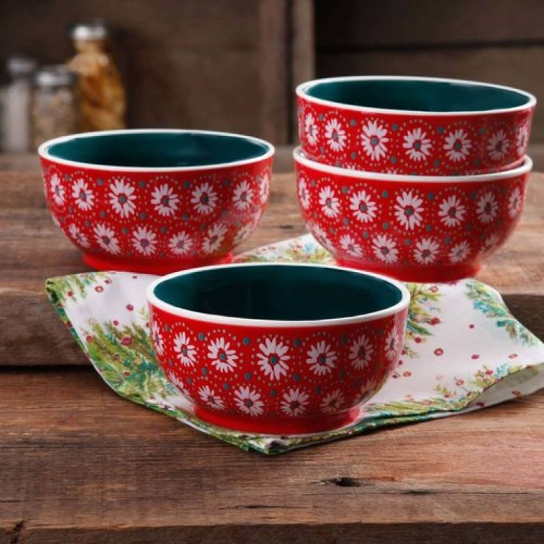 The Pioneer Woman Holiday Daisy 6-Inch Bowl, Set of 4 - Walmart.com