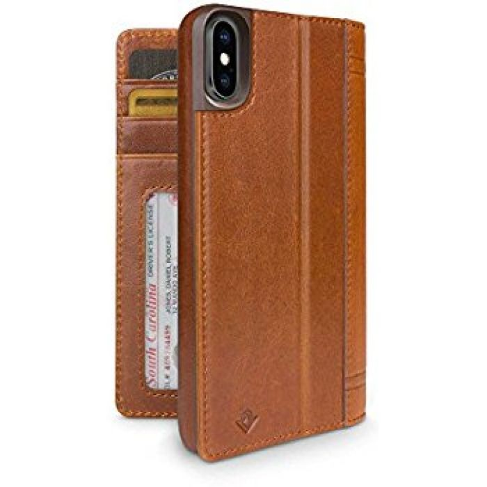 Amazon.com: Twelve South Journal for iPhone X | Leather Wallet Shell and Display Stand (cognac): Cell Phones & Accessories