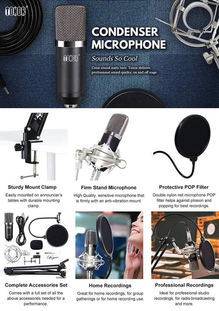 Amazon.com: TONOR Professional Studio Condenser Microphone Computer PC Microphone Kit with 3.5mm XLR / Pop Filter / Scissor Arm Stand / Shock Mount for Professional Studio Recording Podcasting Broadcasting, Black: Musical Instruments