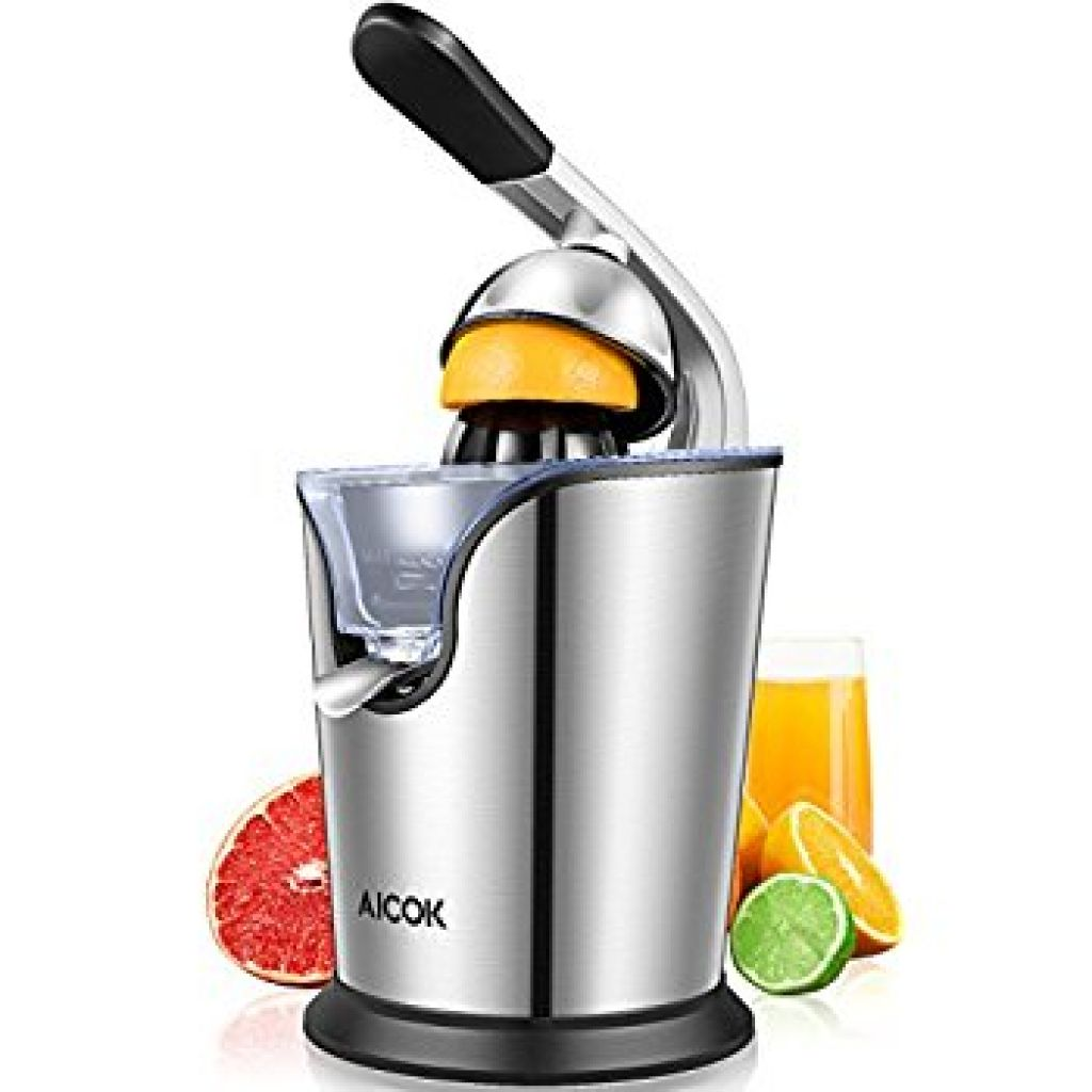 Amazon.com: Aicok Citrus Juicer Electric 160W Powerful Stainless Steel citrus juicer squeezer With Soft Grip Handle And Anti-drip Citrus Press For Squeeze Fresh Orange Lemon, Whisper-Quiet Motor: Kitchen & Dining