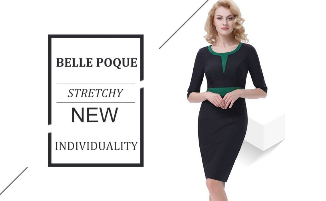 Belle Poque Patchwork Retro 3/4 Sleeve Pencil Dress Formal Business Work Dress BP392 at Amazon Women's Clothing store: